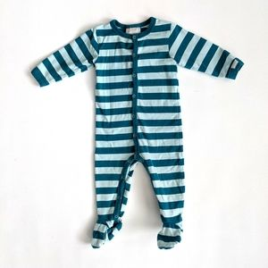 Coccoli Teal Striped Footie